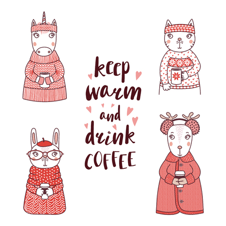Hand drawn vector illustration of a funny rabbit, cat, unicorn, deer, in knitted sweaters, holding cups, text Keep warm and drink coffee. Isolated objects on white background. Design concept for kids. Illustration