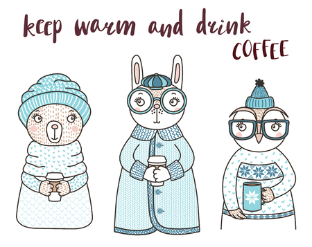 Hand drawn vector illustration of a cute funny rabbit, owl, bear, in knitted sweaters, holding cups, text Keep warm and drink coffee. Isolated objects on white background. Design concept for kids.