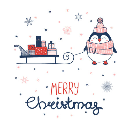 Hand drawn greeting card with a cute penguin in a muffler, pulling a sleigh with gifts, text Merry Christmas. Isolated objects on white background. Vector illustration. Design concept winter holidays. Ilustração