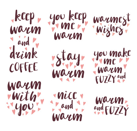 Set of different quotes, typographic elements about warmth, coffee, with hpink hearts. Isolated objects on white background. Design concept winter, autumn, love.