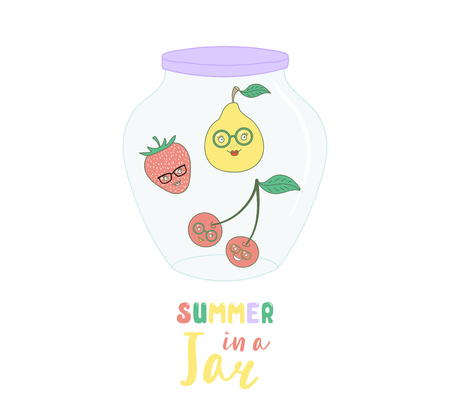 Hand drawn vector illustration of cute funny cartoon fruits: pear, cherry and strawberry in a glass jar, with text Summer in a jar. Isolated objects on white background. Design concept kids, poster.