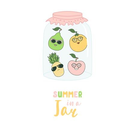 Hand drawn vector illustration of funny cartoon fruits: pear, orange, pineapple, in a glass jar, with text Summer in a jar. Isolated objects on white background. Design concept kids, greeting card. Illustration