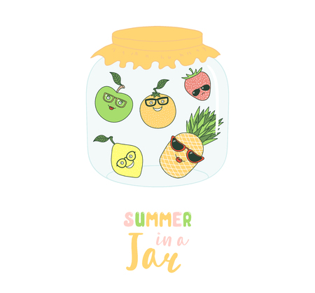 Hand drawn vector illustration of funny cartoon fruits: lemon, orange, pineapple, strawberry, in a glass jar, with text Summer in a jar. Isolated objects on white background. Design concept for kids.