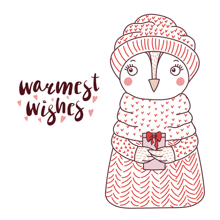 scrap book: Hand drawn vector illustration of a cute funny owl, in a knitted hat and sweater, holding a present, text Warmest wishes. Isolated objects on white background. Design concept for children.