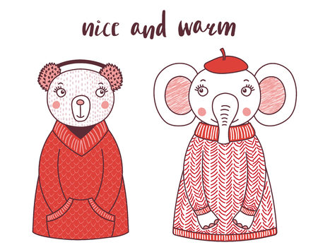 Hand drawn vector illustration of a cute funny bear and elephant, in knitted sweaters, fur earmuffs, beret, text Nice and warm. Isolated objects on white background. Design concept for children.