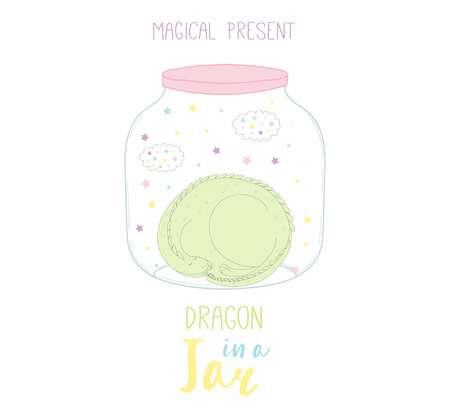 Hand drawn vector illustration of a cute funny cartoon dragon in a glass jar, with text Magical present. Isolated objects on white background. Design concept kids, greeting card, motivational poster.