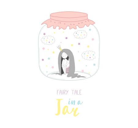 Illustrazione disegnata a mano di vettore di una principessa divertente sveglia in un barattolo di vetro, con la fiaba del testo in un barattolo. Oggetti isolati su sfondo bianco. Concetto di design per bambini, cartolina d'auguri, poster motivazionale. Archivio Fotografico - 88833925