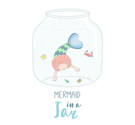テキスト付きのガラス瓶にかわいい面白い漫画人魚の女の子の手描きベクトル イラスト。白い背景の上の孤立したオブジェクト。子供, グリーティ