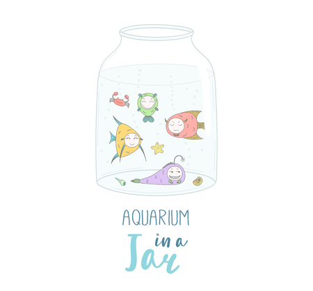 Hand drawn vector illustration of a cute funny cartoon fish in a glass jar, with text Aquarium in a jar. Isolated objects on white background. Design concept kids, greeting card, motivational poster.