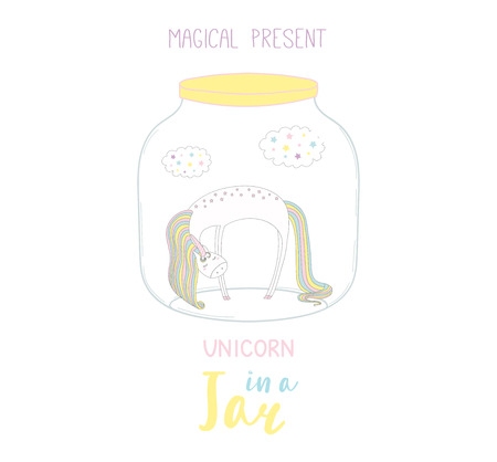 Hand drawn vector illustration of a cute funny cartoon unicorn in a glass jar, with text Magical present. Isolated objects on white background. Design concept kids, greeting card, motivational poster.