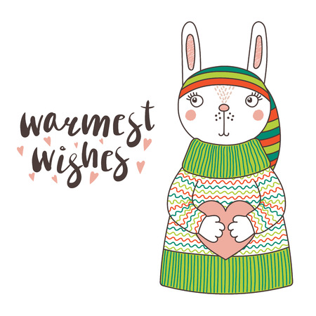 Hand drawn vector illustration of a cute funny bunny in a knitted striped hat and sweater, holding a heart, text Warmest wishes. Isolated objects on white background. Design concept for children. Illustration