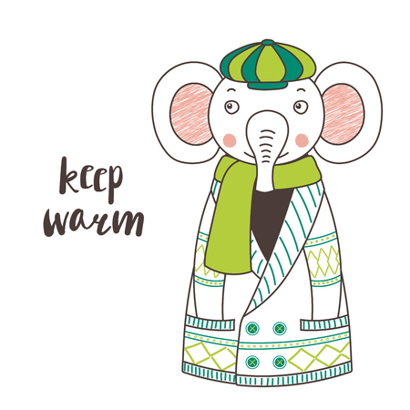 Hand drawn vector illustration of a cute funny elephant in a knitted cardigan, muffler and cap, text Keep warm. Isolated objects on white background. Design concept for children.