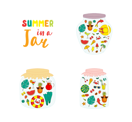 Set of hand drawn glass jars with cute cartoon summer objects, with text. Isolated objects on white background. Design concept for kids, greeting card, motivational poster. Vector illustration. Illustration