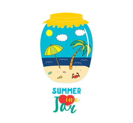 Hand drawn vector illustration of a beach landscape with umbrella, palm, in a glass jar, with text Summer in a jar. Isolated objects on white background. Design concept kids, card, motivational poster
