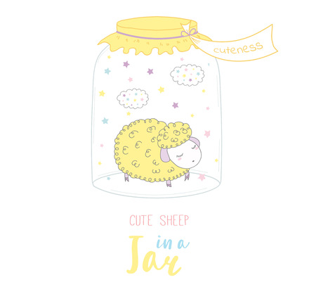 Hand drawn vector illustration of cute funny cartoon sheep in a glass jar with label Cuteness, with text. Isolated objects on white background. Design concept kids, greeting card, motivational poster. Illustration