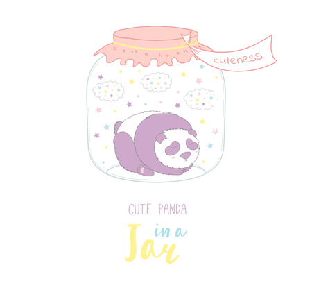 Hand drawn vector illustration of cute funny cartoon panda in a glass jar with label Cuteness, with text. Isolated objects on white background. Design concept kids, greeting card, motivational poster. Illusztráció