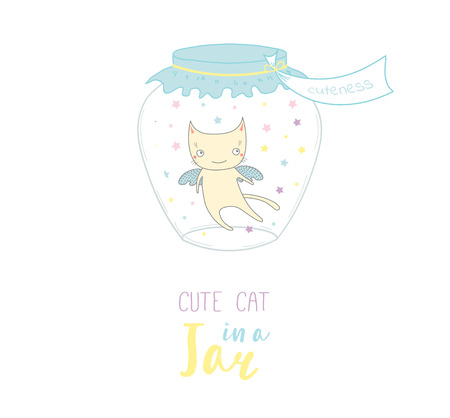 Hand drawn vector illustration of a cute funny cartoon cat in a glass jar with label Cuteness, with text. Isolated objects on white background. Design concept kids, greeting card, motivational poster.