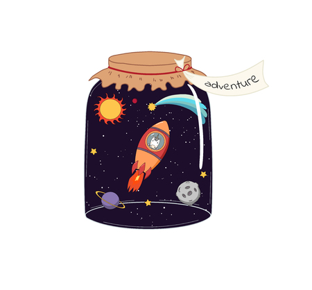Hand drawn vector illustration of a cute funny unicorn flying in a rocket in outer space, in a glass jar with label Adventure. Isolated objects on white background. Design concept kids, card, poster.