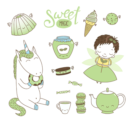 Set of different hand drawn sweet food doodles, with kawaii cartoon faces, cute fairy girl, unicorn eating donut, typography. Isolated objects on white background. Design concept dessert, kids.