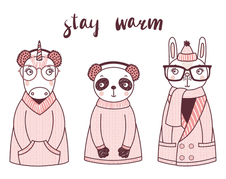 Hand drawn vector illustration of a cute funny rabbit, unicorn, panda, in knitted sweaters, fur earmuffs, text Stay warm. Isolated objects on white background. Design concept for children. Illustration