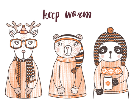 Hand drawn vector illustration of a cute funny bear, panda with a mug, deer, in knitted sweaters, hats, text Keep warm. Isolated objects on white background. Design concept for children.
