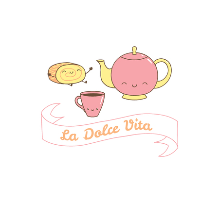 Hand drawn vector illustration of a cute coffee cup, pot and rollcake, Italian text La dolce vita (Sweet life). Isolated objects on white background. Design concept dessert, kids, greeting card.