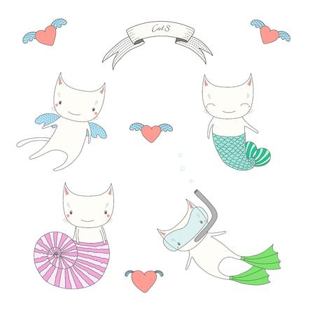 かわいい天使の猫、魚の尾、海のシェル、スキューバ ダイビングのマスクとフィンを泳ぐと水の下で猫の手描きベクトル イラスト。白い背景の上の  イラスト・ベクター素材