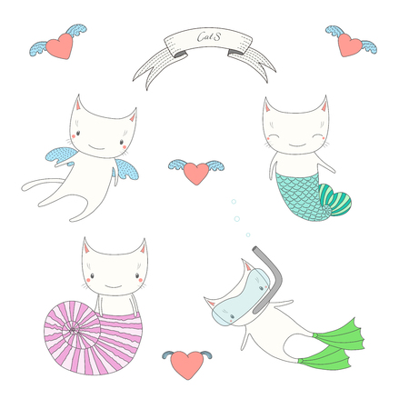 Hand drawn vector illustration of a cute angel cat, cats under water, with fish tail, in a sea shell and in swim fins and scuba mask. Isolated objects on white background. Design concept for kids.