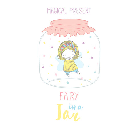 Hand drawn vector illustration of a cute funny cartoon fairy in a glass jar, with text Magical present. Isolated objects on white background. Design concept kids, greeting card, motivational poster. Illustration