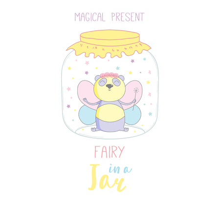 scrap book: Hand drawn vector illustration of a cute funny fairy panda in a glass jar, with text Magical present. Isolated objects on white background. Design concept kids, greeting card, motivational poster. Illustration