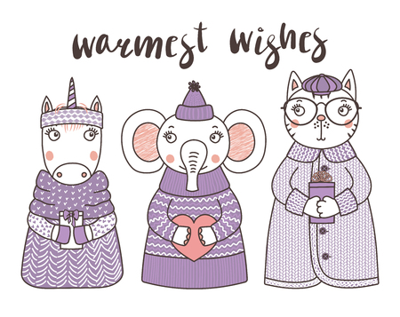 Hand drawn vector illustration of a cute funny cat, unicorn, elephant, in knitted hats and sweaters, holding gifts, text Warmest wishes. Isolated objects on white background. Design concept for kids