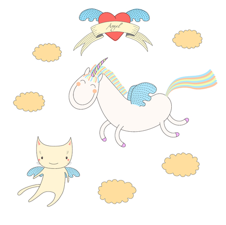 Hand drawn vector illustration of a cute unicorn with wings and angel cat, flying among the clouds, with heart and text Angel on a ribbon. Isolated objects on white background. Design concept for kids