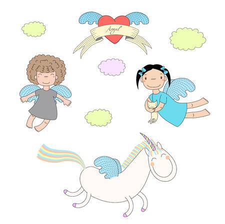 リボン上のテキスト天使翼のあるハートとユニコーン 1 つ保持子猫、二人のかわいい天使の女の子の描かれたベクトル イラストを手します。白い背