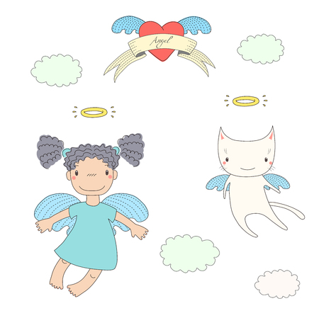Hand drawn vector illustration of a cute little angel girl with pig tails and angel cat, flying, with heart and text Angel on a ribbon. Isolated objects on white background. Design concept for kids.