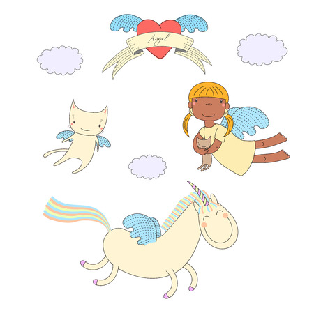 Hand drawn vector illustration of a dark skinned angel girl, holding kitten, unicorn with wings and angel cat, heart and text on a ribbon. Isolated objects on white background. Design concept for kids