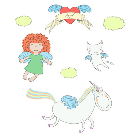 Hand drawn vector illustration of a cute little angel girl, unicorn with wings and angel cat, flying, heart and text Angel on a ribbon. Isolated objects on white background. Design concept for kids. Illustration