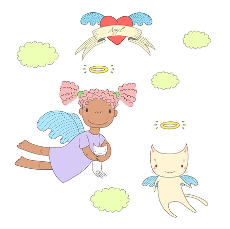 Hand drawn vector illustration of a cute dark skinned angel girl, holding kitten, and angel cat, flying, with heart and text on a ribbon. Isolated objects on white background. Design concept for kids.