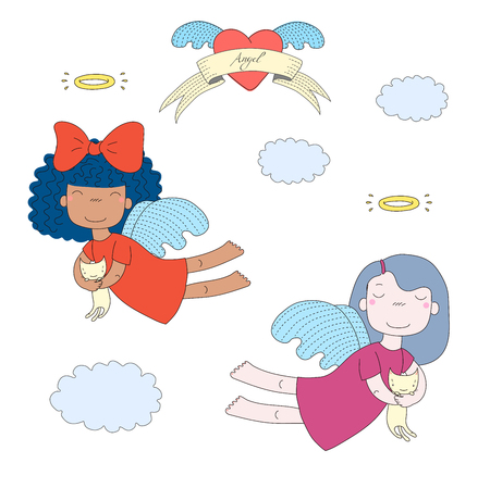 Hand drawn vector illustration of two cute little angel girls, holding kittens, flying, with winged heart and text Angel on a ribbon. Isolated objects on white background. Design concept for children.