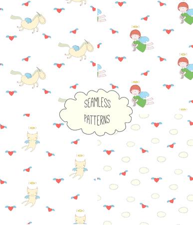 Satz von vier Hand gezeichneten netten nahtlosen Vektormustern mit Engelsmädchen, geflügelte Katze, Einhorn, Herzen, Wolken, auf einem weißen Hintergrund. Design-Konzept für Kinder Textildruck, Tapeten, Geschenkpapier Standard-Bild - 88834347