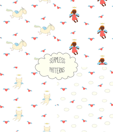 Set of hand drawn cute seamless vector patterns with little angel girl, winged cat, unicorn, hearts, clouds, on a white background. Design concept for children textile print, wallpaper, wrapping paper Illustration
