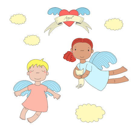 Hand drawn vector illustration of two cute little angel girls, one holding  kitten, flying, winged heart and text Angel on a ribbon. Isolated objects on white background. Design concept for children.