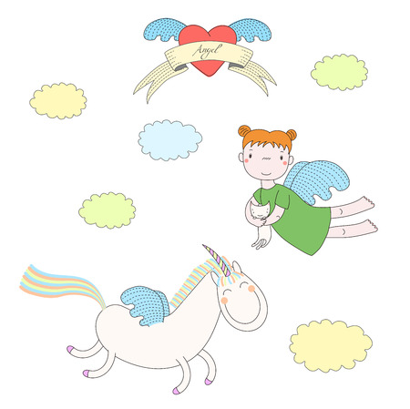 Hand drawn vector illustration of a cute angel girl, holding cat, and unicorn with wings, flying, with heart and text Angel on a ribbon. Isolated objects on white background. Design concept for kids.