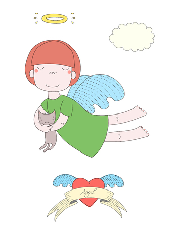 Hand drawn vector illustration of a cute little angel girl with halo, holding kitten, with winged heart and text Angel on a ribbon. Isolated objects on white background. Design concept for children. Иллюстрация