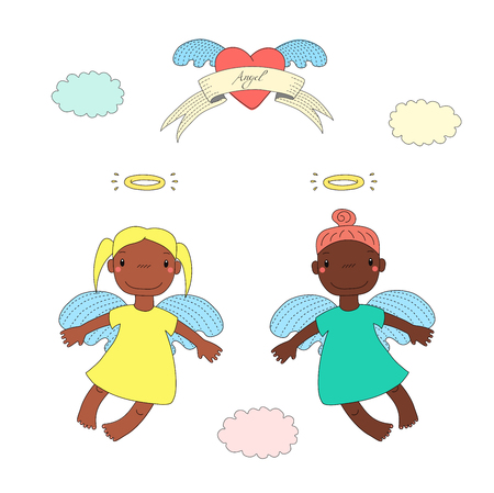Hand drawn vector illustration of two cute dark skinned angel girls with different hair, flying, winged heart and text on a ribbon. Isolated objects on white background. Design concept for children. Illustration
