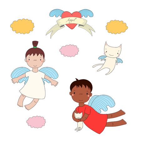 Hand drawn vector illustration of two cute little angel girls, one holding kitten, and angel cat, heart and text Angel on a ribbon. Isolated objects on white background. Design concept for children.