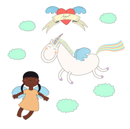 Hand drawn vector illustration of a cute dark skinned angel girl and unicorn with wings, flying, with winged heart and text on a ribbon. Isolated objects on white background. Design concept for kids.