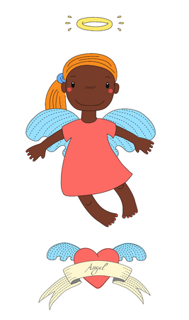 Hand drawn vector illustration of a cute dark skinned angel girl with pony tail and halo, flying in the sky, winged heart and text. Isolated objects on white background. Design concept for children.