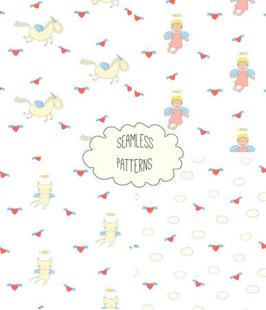 Satz von vier Hand gezeichneten netten nahtlosen Vektormustern mit Engelsmädchen, geflügelte Katze, Einhorn, Herzen, Wolken, auf einem weißen Hintergrund. Design-Konzept für Kinder Textildruck, Tapeten, Geschenkpapier Standard-Bild - 88834366