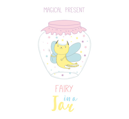 Hand drawn vector illustration of a cute funny cartoon fairy cat in glass jar, with text Magical present. Isolated objects on white background. Design concept kids, greeting card, motivational poster. Illustration