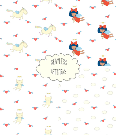 Set of four hand drawn cute seamless vector patterns with angel girl, winged cat, unicorn, hearts, clouds, on a white background. Design concept for children textile print, wallpaper, wrapping paper Ilustração